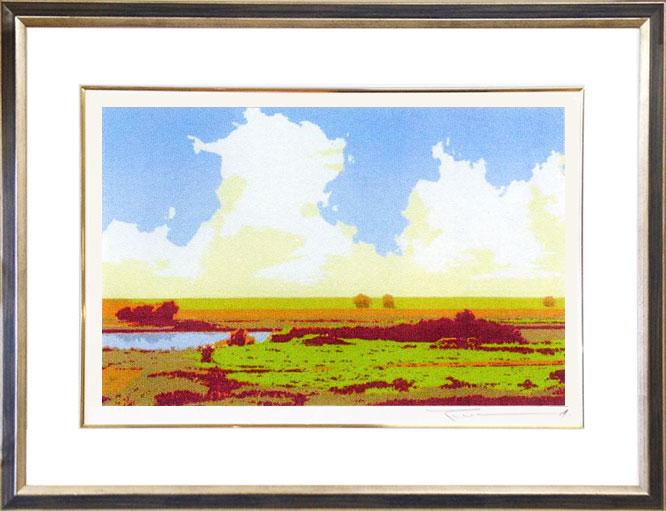 超熱 絵画 「湿原の詩」 本間武男画伯 【送料無料】, 和歌山市 57169176