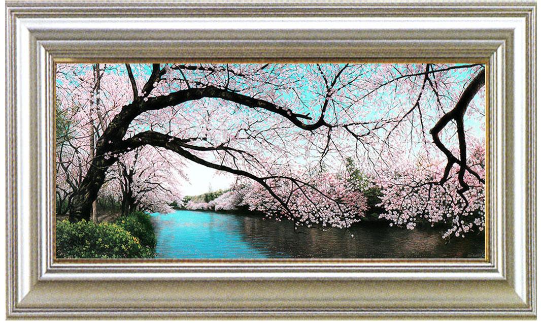 絵画 油絵「桜彩水静(井の頭)」川島未雷(かわしまみらい)画伯