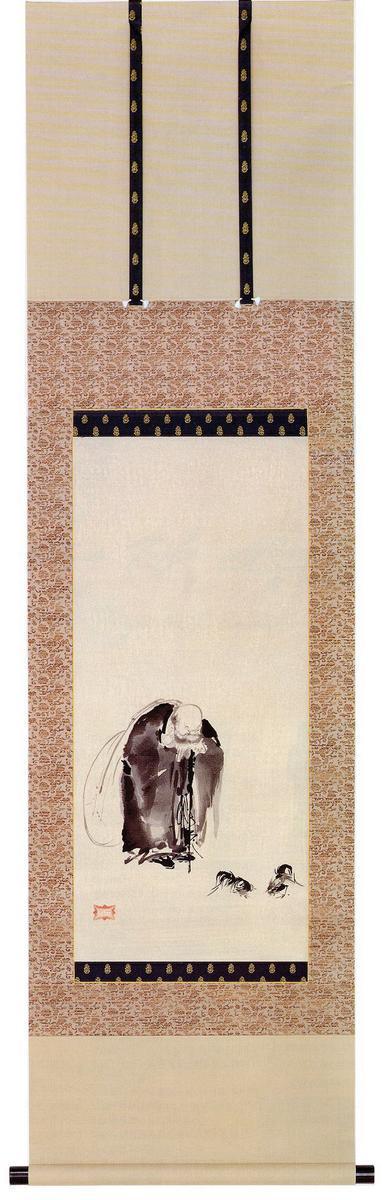 剣聖 宮本武蔵遺作木版画「布袋見闘鶏図」