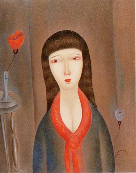 斎藤真一 リトグラフ「赤いスカーフの女」
