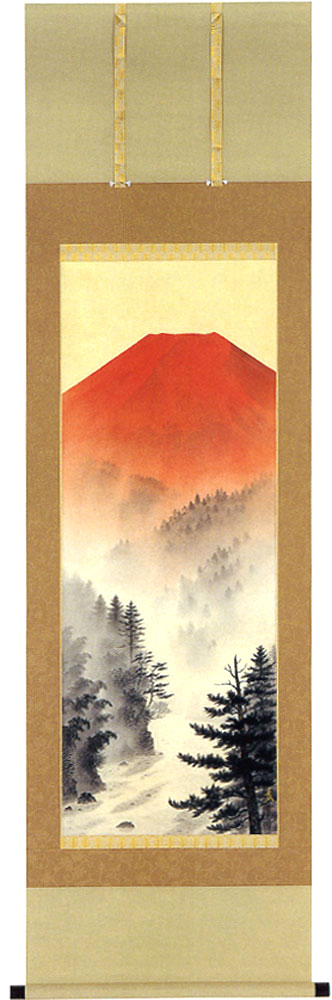 掛け軸 赤富士 高橋晨作  モダン 掛軸 販売 床の間 受注制作品