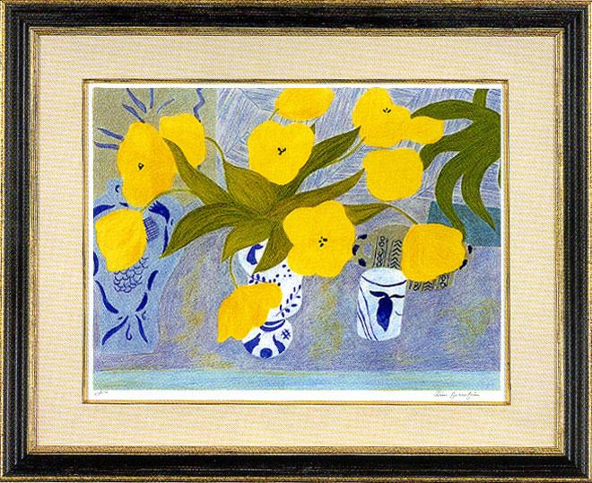 ピエール・ボンコンパン「デルフトの花瓶と黄色い花」
