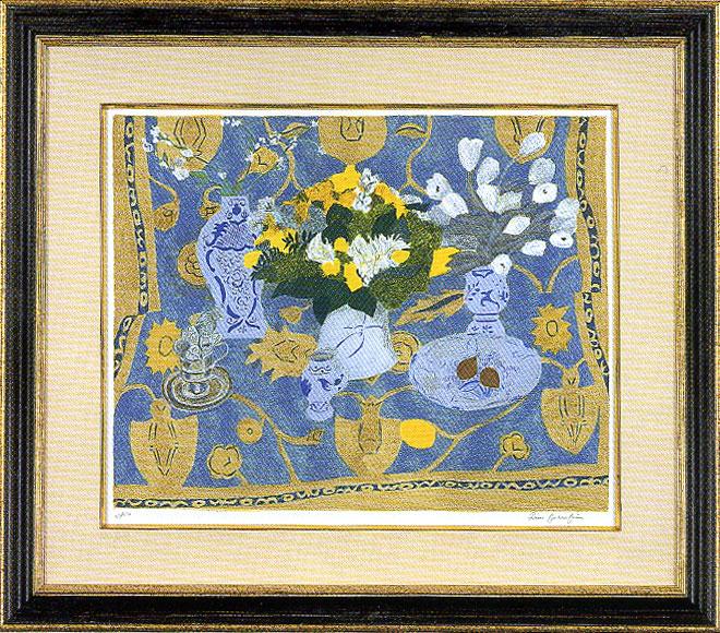 ピエール・ボンコンパン「ブルーの絨毯の上のブーケ」
