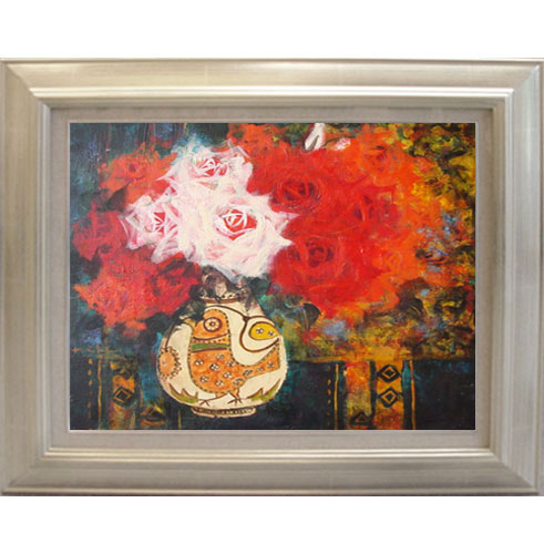 絵画 「マヂョリカ壷の薔薇」加藤啓子 作(油絵)