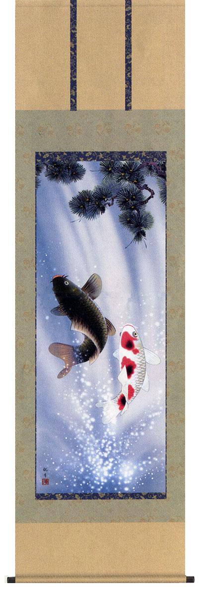 掛け軸 夫婦昇鯉 森山観月作 販売・床の間 鎧 兜名入れ可能 送料無料/【smtb-tk】