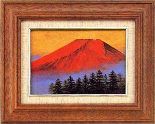 絵画 インテリア「赤富士」加藤芳雄作額入り 縁起の良い・紅富士の油絵
