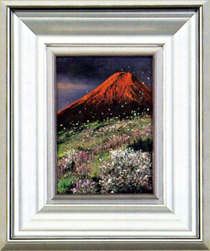 絵画 インテリア「赤富士」伊吹浩一作額入り 縁起の良い・紅富士の油絵