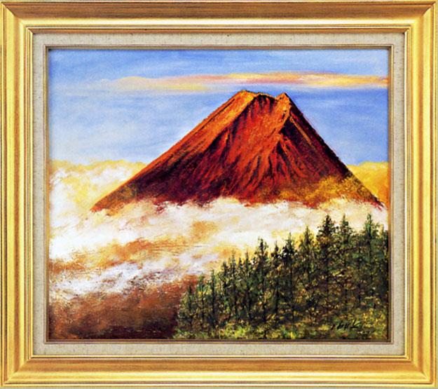 絵画 赤富士 伊吹浩一作 縁起の良い・紅富士の油絵【送料無料】【smtb-tk】