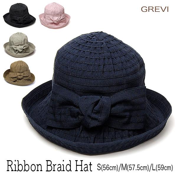 """帽子 イタリア""""GREVI(グレヴィ)""""リボンブレードハット[ハット] 【あす楽対応】【送料無料】【コンビニ受取対応商品】"""