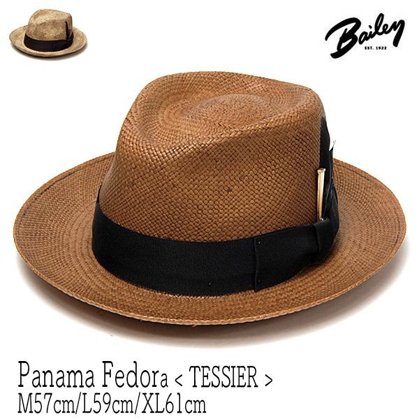 """帽子 アメリカ""""Bailey(ベイリー)"""" パナマ中折れ帽 TESSIER ストローハット メンズ 春夏 [大きいサイズの帽子アリ]【コンビニ受取対応商品】"""