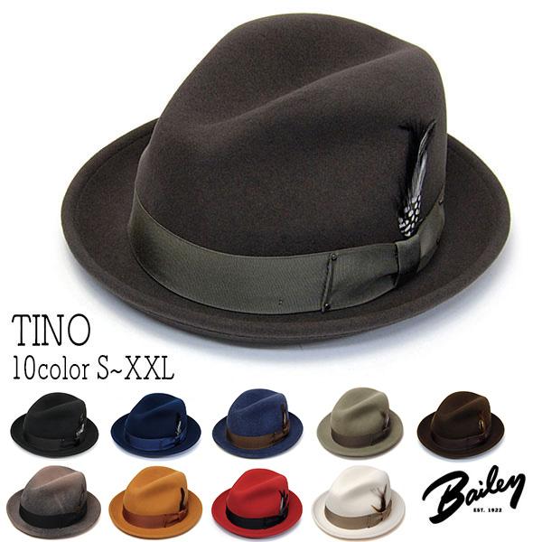 """帽子 アメリカ""""Bailey(ベイリー)"""" ウールフエルト中折れ帽 TINO ティノ ハット メンズ 秋冬 [大きいサイズの帽子アリ][小さいサイズ対応]"""