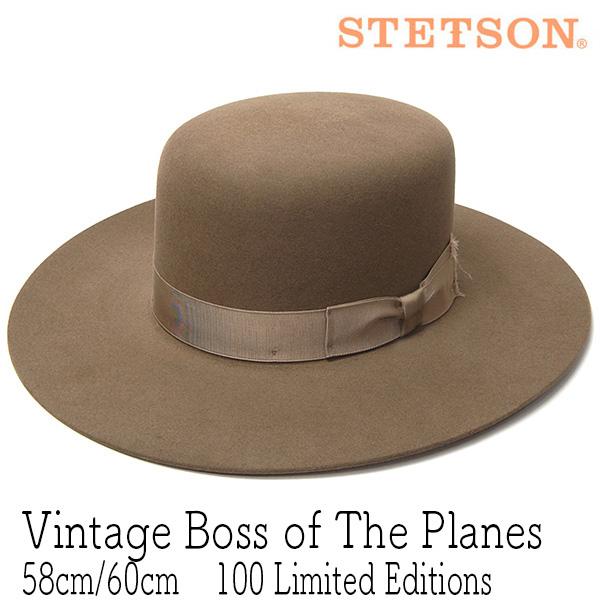 """STETSONの原点ともいえる歴史的ハットの限定版レプリカ! 帽子 アメリカ""""STETSON(ステットソン)""""ファーフエルトハット[VINTAGE BOSS OF THE PLANES]【あす楽対応】[大きいサイズの帽子アリ]【ラッキーシール対応】"""