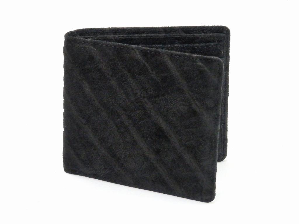 国産エレファント(象革)二つ折財布 ブラック