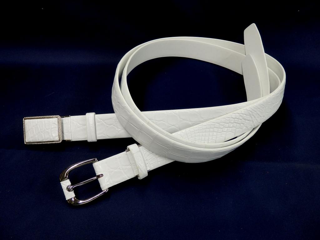 国産クロコダイル紳士ベルト 35mm幅 ホワイト