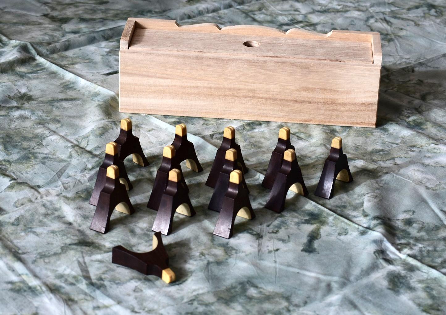 中古 十三絃 紫檀 琴柱セット 兜琴柱