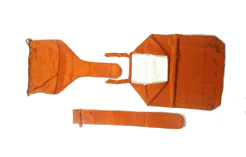 三味線 三つ組袋 長唄 正絹 黄土色