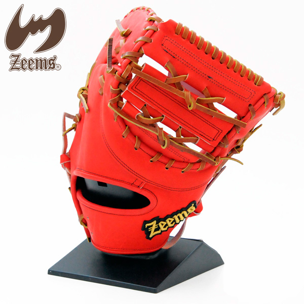 Zeems 硬式 一塁 マーケット 大人 永遠の定番モデル 一般用 ジームス ファーストミット ZL-380FM Lバックスタイル グローブ 野球 レッド×タン