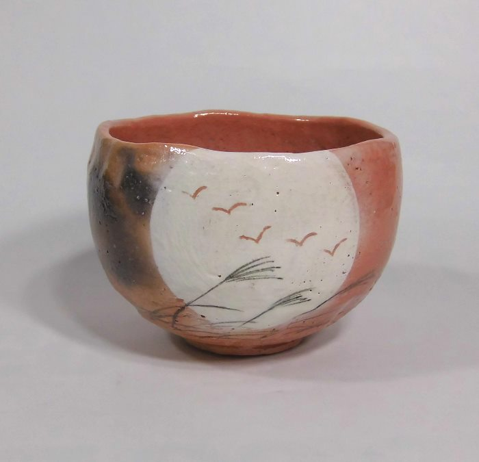 茶碗 赤楽 月に雁