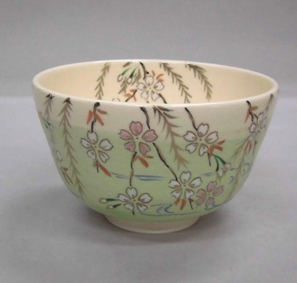 茶碗 色絵柳桜