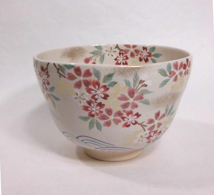 茶碗 色絵桜流水