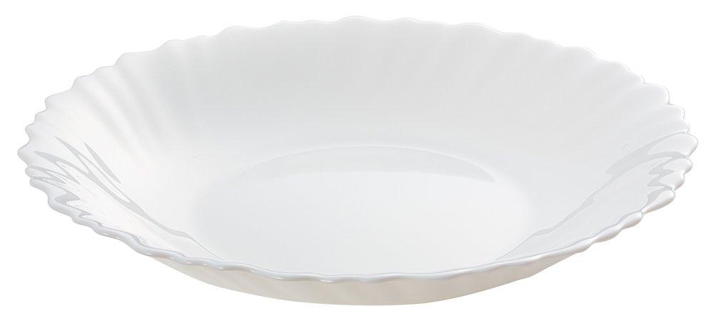 フランス製強化ガラス 送料無料激安祭 ファミエット 爆売り 21cm深皿 シルクホワイト