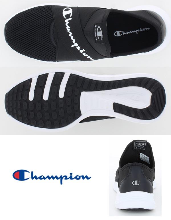 チャンピオン スリッポン スニーカー レディース ビーンズ フォーム スリップ ACT004 ブラック黒 CHAMPION BEANS FORM SLIP ACT004 BLACK