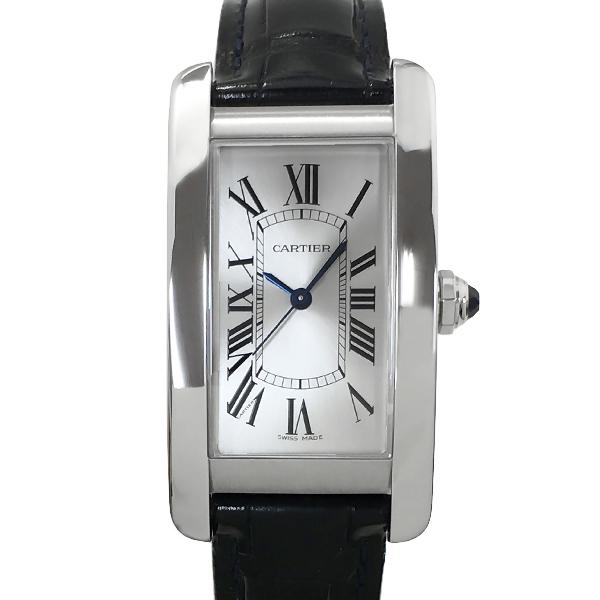 送料無料 腕時計 メンズ レディース 中古 カルティエ タンクアメリカンMM 最新号掲載アイテム ワニ革 Cartier ボーイズウォッチ 自動巻き シルバー文字盤 WSTA0017 ステンレススチール 売れ筋ランキング