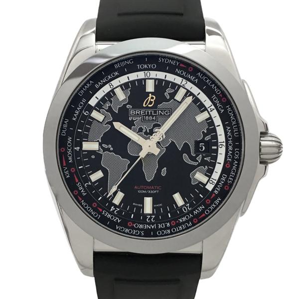 【中古】ブライトリング ギャラクティック ユニタイム スリーク ティー ラバー 腕時計 WB3510 自動巻き 黒文字盤 BREITLING