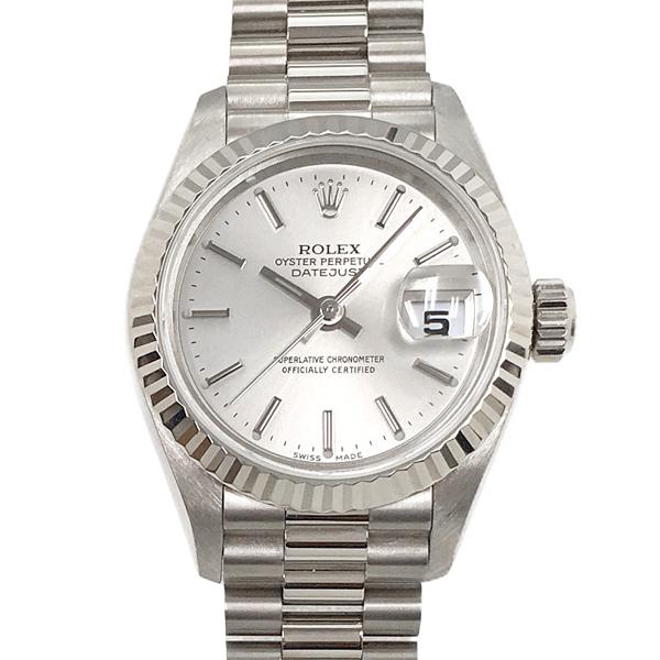 【中古】ロレックス デイトジャスト 79179 K18WG ホワイトゴールド 自動巻き シルバー文字盤 金無垢 腕時計 ROLEX