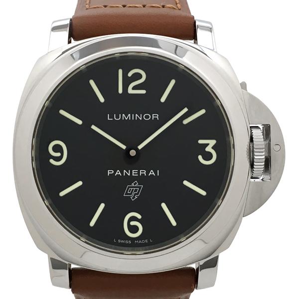 【中古】パネライ ルミノールベースロゴ ステンレススチール レザー 腕時計 PAM00000/OP6616 手巻き 黒文字盤 PANERAI