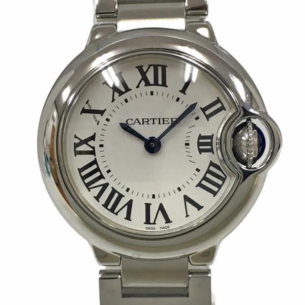 【中古】カルティエ バロンブルーSM ステンレススチール 腕時計 W69010Z4 28mm クォーツ シルバー文字盤 Cartier