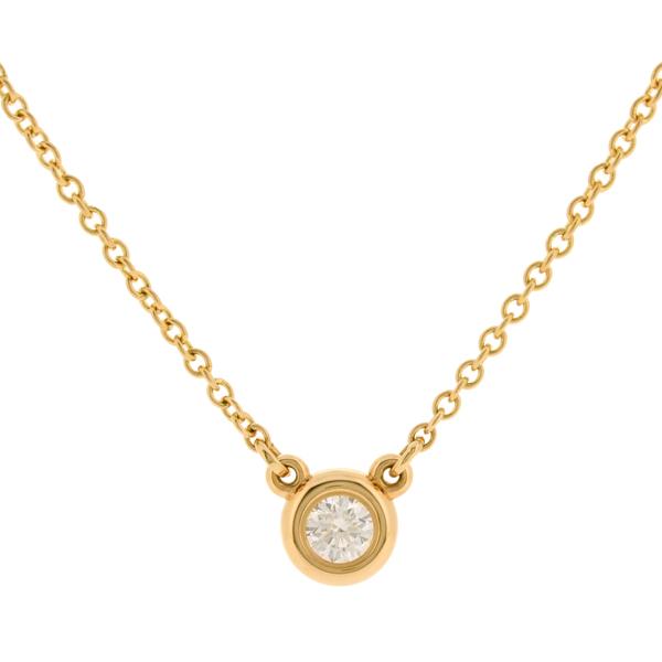 【中古】ティファニー バイザヤード ネックレス K18PG ピンクゴールド 一粒ダイヤモンド TIFFANY&Co.