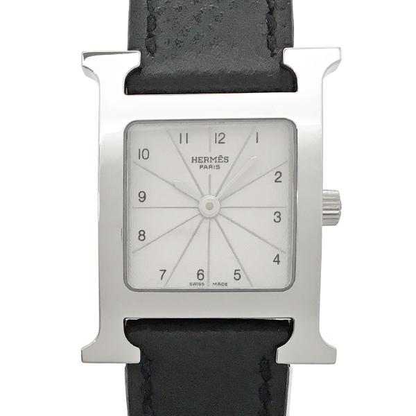 【中古】エルメス Hウォッチ ステンレススチール レザー 腕時計 HH1.210 クォーツ 白文字盤 HERMES