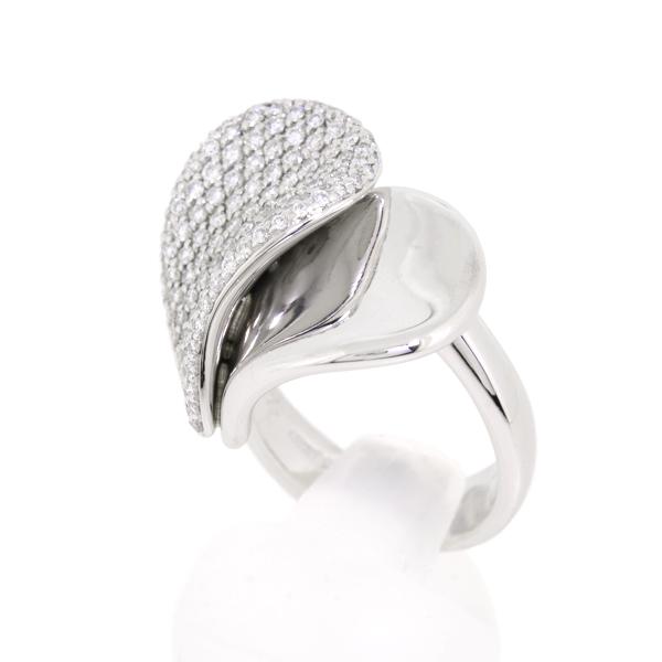 送料無料 レディースジュエリー 中古 ポンテヴェキオ 超激安 ハート リング 12号 K18WG Ponte ホワイトゴールド 公式通販 15.5g Vecchio ダイヤモンド 指輪 0.88ct