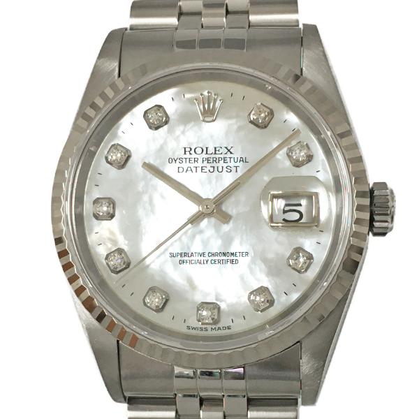 【中古】ロレックス オイスターデイトジャスト A番 10Pダイヤモンド K18WG 腕時計 16234NG 自動巻き シェル文字盤 ROLEX
