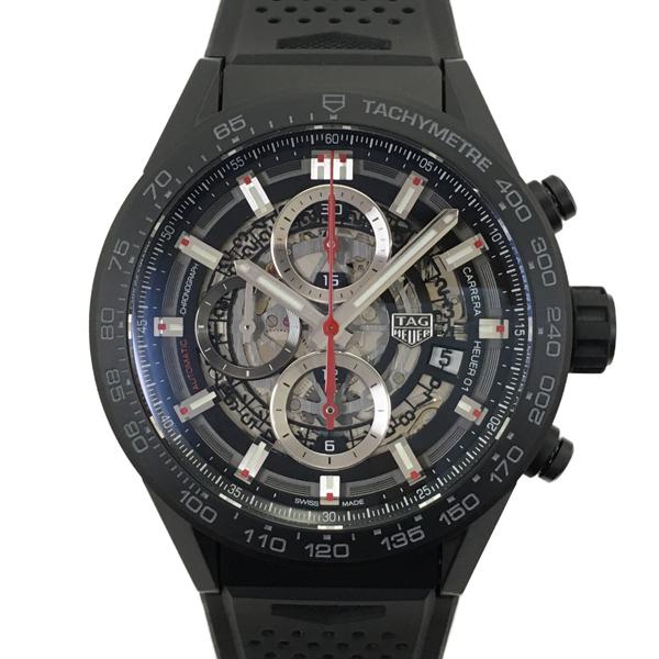 【中古】タグホイヤー カレラ ホイヤー01 ラバー 腕時計 CAR2090.FT6088 自動巻き スケルトン文字盤 クロノグラフ TAG HEUER