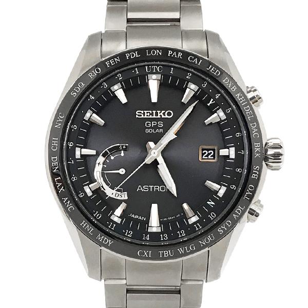 【中古】セイコー アストロン SBXB085/8X22-0AG0-2 ソーラー電波 GPS チタン セラミック 黒文字盤 腕時計 SEIKO