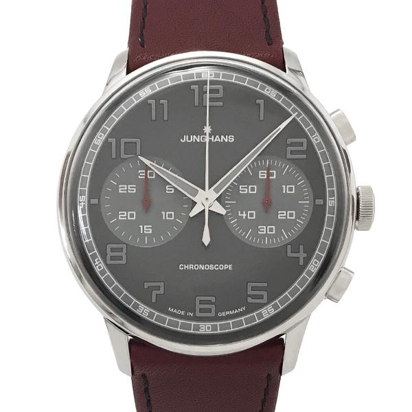 【未使用】ユンハンス マイスター ドライバー クロノスコープ 腕時計 027/3685.00 自動巻き グレー文字盤 裏スケルトン JUNGHANS【中古】