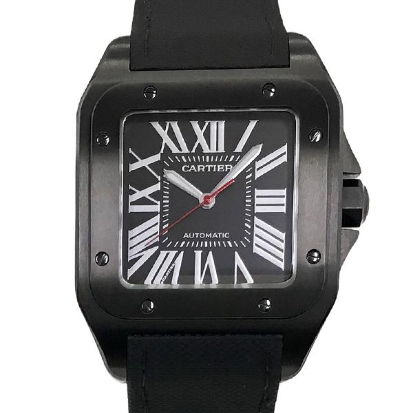 【中古】カルティエ サントス100 カーボンウォッチLM ステンレススチール 腕時計 WSSA0006 自動巻き 黒文字盤 Cartier