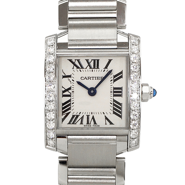 【中古】カルティエ タンクフランセーズSM ステンレススチール ダイヤモンド 腕時計 W4TA0008 クォーツ 白文字盤 Cartier
