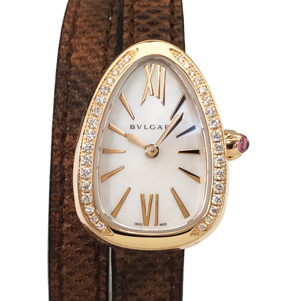 【中古】ブルガリ セルペンティ K18PG ピンクゴールド ダイヤモンド レザー 腕時計 SPP27WPGDL クォーツ シェル文字盤 BVLGARI