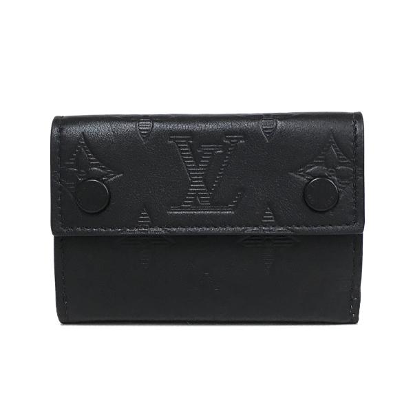 【中古】ルイヴィトン モノグラム・シャドウ ディスカバリー・コンパクト ウォレット レザー 三つ折り財布 M67631 黒 LOUIS VUITTON LV