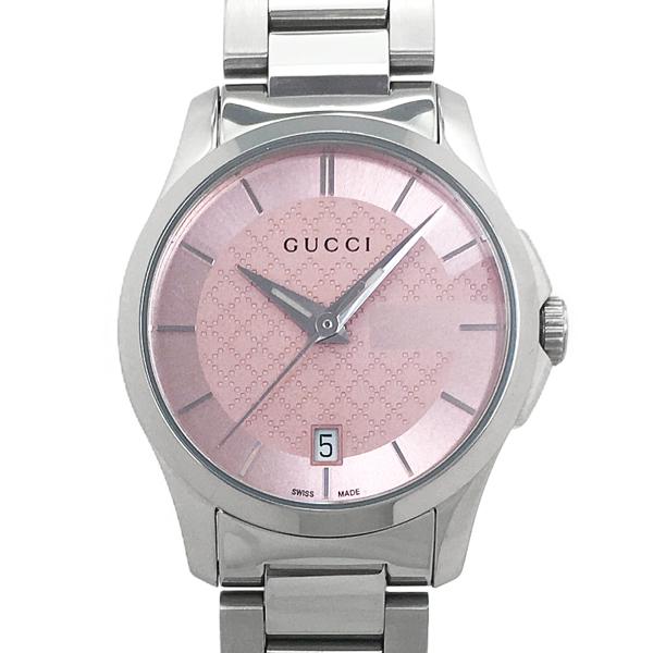 【中古】グッチ Gタイムレス YA126524 ステンレススチール クォーツ ピンク文字盤 27mm カレンダー 腕時計 GUCCI