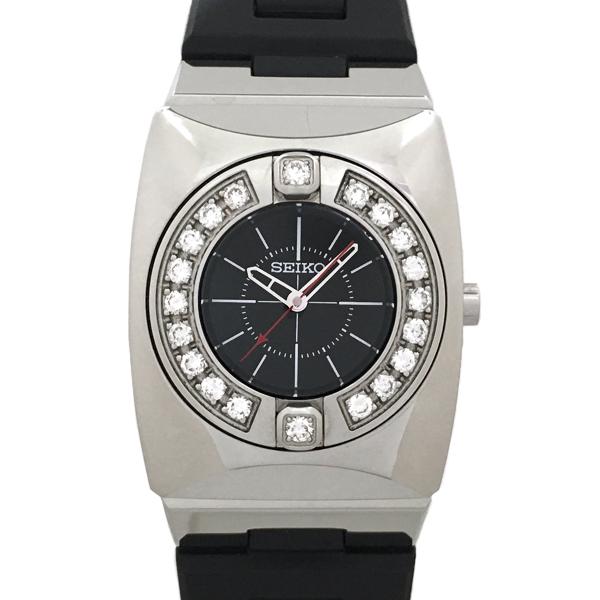 【中古】セイコー エム ダイヤモンドベゼル ステンレススチール 腕時計 SRXJ003/4J45-0AB0 クォーツ 黒文字盤 SEIKO M