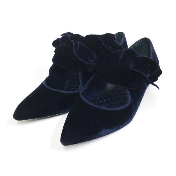 【中古】トリーバーチ フラットシューズ フラットパンプス 43338 靴 ベロア ネイビー 紺 リボン ファッション TORY BURCH