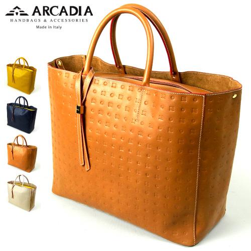 牛革 レディース トートバッグ ARCADIA アルカディア Art.2860 型押し