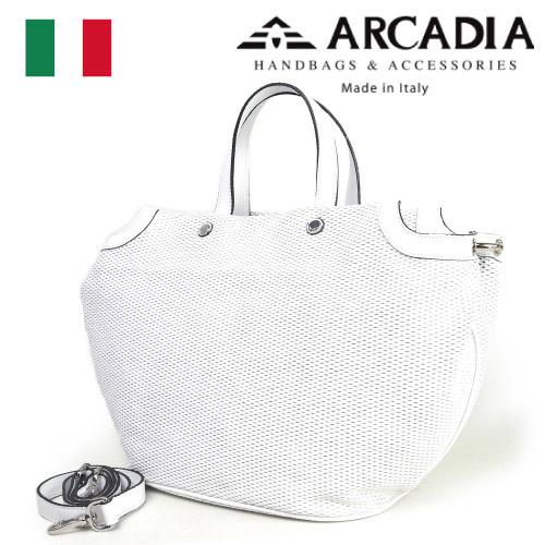 レディースバッグ イタリア製 牛革 2WAYハンドバッグ ARCADIA アルカディア Art.2565 BIANCO ホワイト