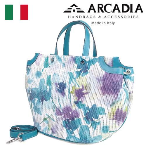 レディースバッグ イタリア製 牛革 2WAY ショルダー付きハンドバッグ ARCADIA アルカディア Art.2565 TURCHESE ターコイズ