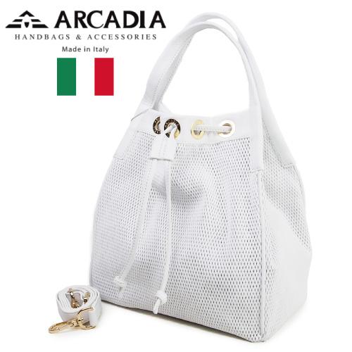レディースバッグ イタリア製 牛革 2WAYハンドバッグ ARCADIA アルカディア Art.2784 BIANCO ホワイト