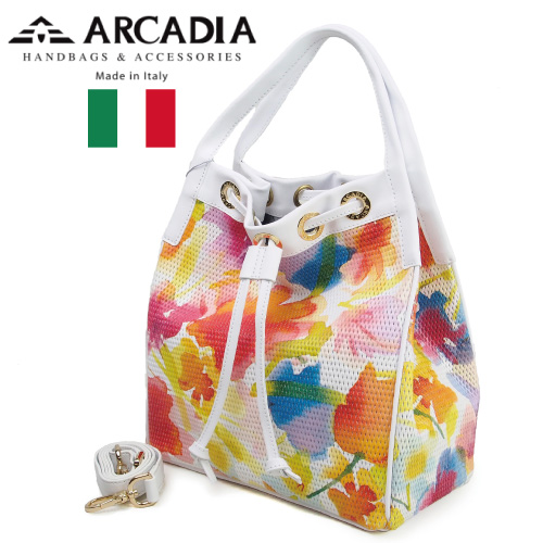 Art.2784 ARCADIA イエローホワイト レディースバッグ 牛革 イタリア製 GIALLO 2WAYハンドバッグ BIANCO アルカディア